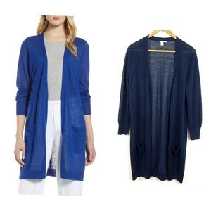 Halogen Open Cardigan Long Navy Blue Size S
